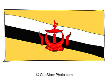 hand drawn   of flag of Bruneian