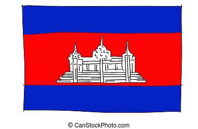 hand drawn   of flag of cambodia