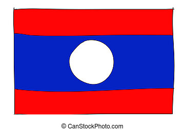 hand drawn   of flag of Laos