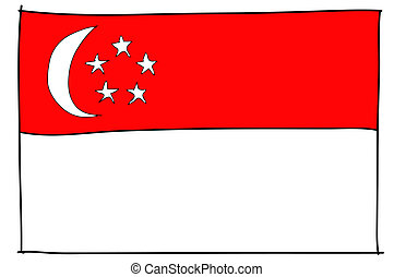 hand drawn   of flag of Singapore
