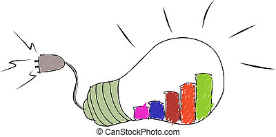 drawing The Light Bulb For Business Concept Isolated on...