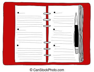 Hand Drawn  , Notebook red