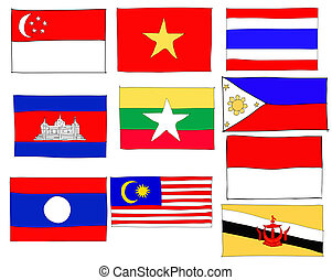 hand drawn   of flag of ASEAN Economic Community, AEC
