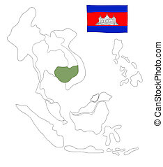 drawing  map of South East Asia countries that will be member of AEC with cambodia flag symbol