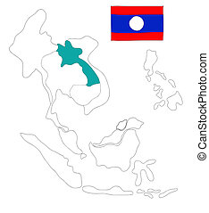 drawing  map of South East Asia countries that will be member of AEC with Laos flag symbol