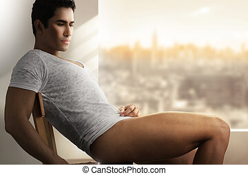 Sensual male - Fashion portrait of sensual muscular young...