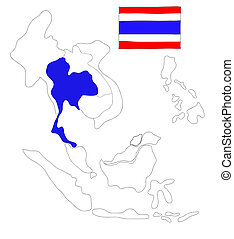drawing  map of South East Asia countries that will be member of AEC with Thailand flag symbol