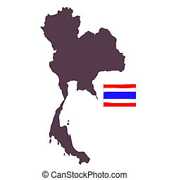 hand drawn Map of Thailand isolated
