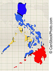 hand drawn Philippines flag on map of country