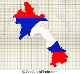 hand drawn Flag and map of Laos