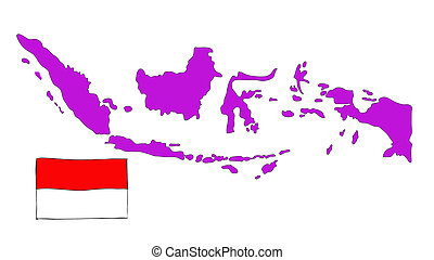hand drawn   of flag of Indonesia