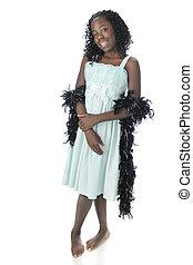Black Boa Beauty - A standing portrait of a beautiful black...