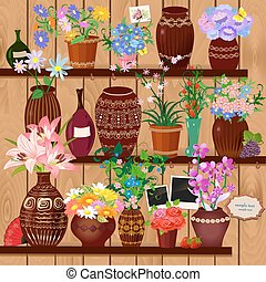 Flower pots on wooden shelves