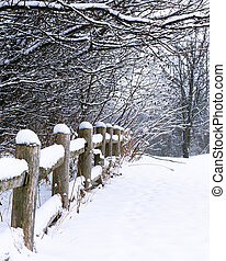 Snow Covered Rustic Fence - Rustic fence and surrounding...