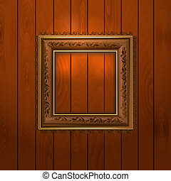 Vintage frame on wooden texture