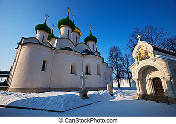 Cathedral of the Transfiguration at Suzdal in winter -...