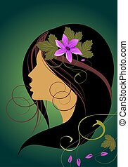 floral background with the silhouette of a girl