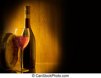 Red wine glass and bottle - Red wine glass, barell and...