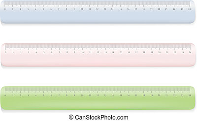 Color ruler on white blue,red,green