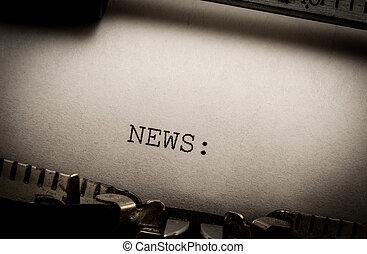 notícia, Máquina escrever
