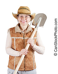 Happy pastoral  woman   with spade