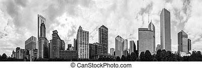 180 Degrees Panorama of the Chicago Skyline in Monochrome