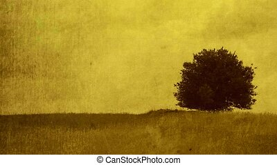 Grunge background with Lonely tree