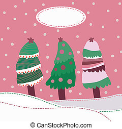 Snow landscape background with christmas trees