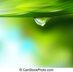 drop of dew on a background of sky and greenery