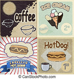 Set of vintage cards with the image of fast food