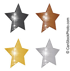 Perspective Stars - A set of perspective glittering stars in...