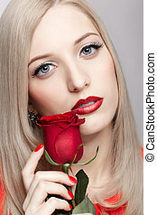 blonde woman with rose