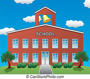 vector school house - vector illustration of a big school...