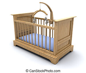 Baby\\\'s cot - Cot for a baby boy with hanging teddy mobile