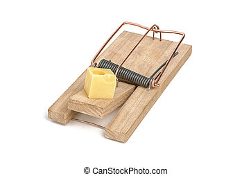 loaded mousetrap with cheese as bait