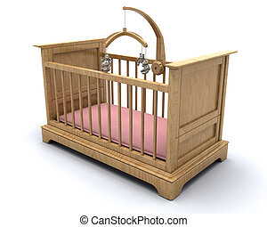 Babys cot - Cot for a baby girl with hanging teddy mobile...