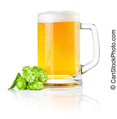 Mug fresh beer with Green hops isolated on a white...