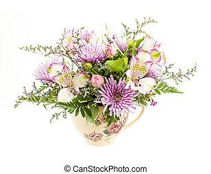 Flower arrangement on white