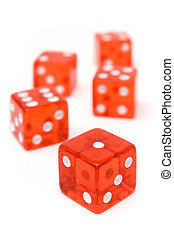Bunch of Red Dice - Translucent dice isolated on a white...