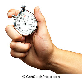 cierre, Arriba, de, mano, tenencia, cronómetro