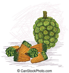 pandanus fruit kernels - closeup illustration of pandanus...