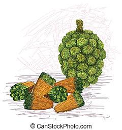 pandanus fruit kernels - closeup illustration of pandanus...
