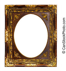 gold wooden frame isolated with clipping path