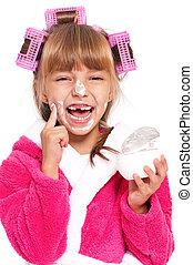 Little girl in pink bathrobe - Portrait of pretty little...