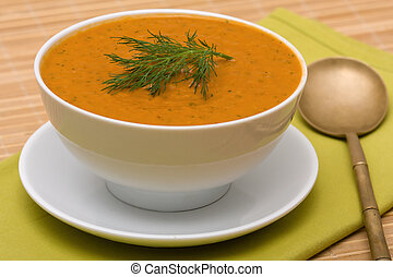 Vegetable cream soup - Homemade vegetable cream soup in...