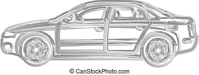brush painted car against white background, abstract vector...