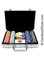 Poker Set - Poker cards, chips and dice in a metal case...