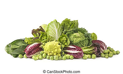 Assortment of fresh cabbages isolated on white background