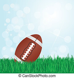 football on grass - illustration of football on grass with...