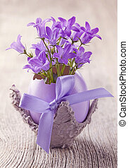 Campanula flowers in the eggshell